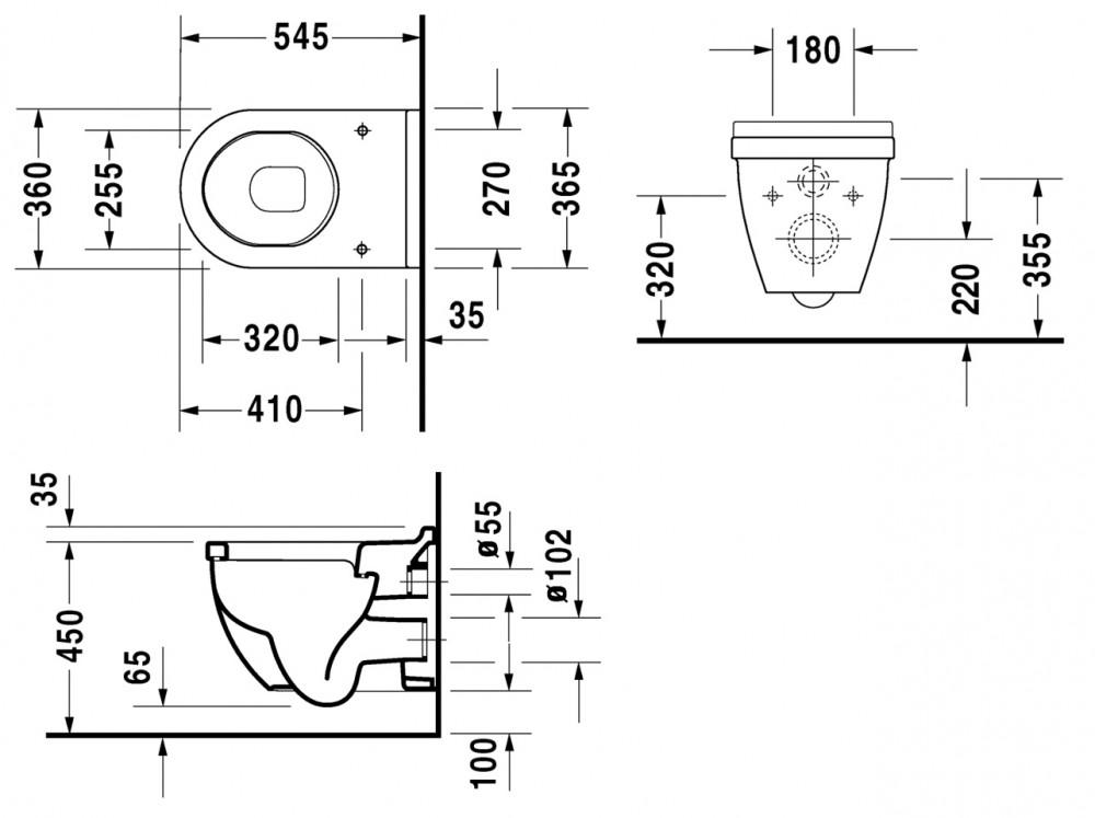 duravit starck 3 tiefsp l wand wc comfort mit 5cm erh hter. Black Bedroom Furniture Sets. Home Design Ideas