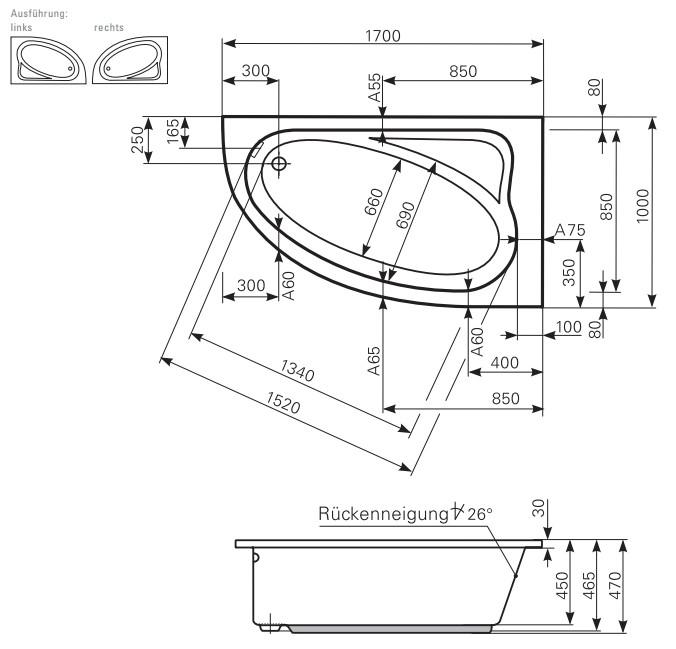 Favorit Mauersberger Eck-Badewanne Aspera Eckwanne verschiedene OF05
