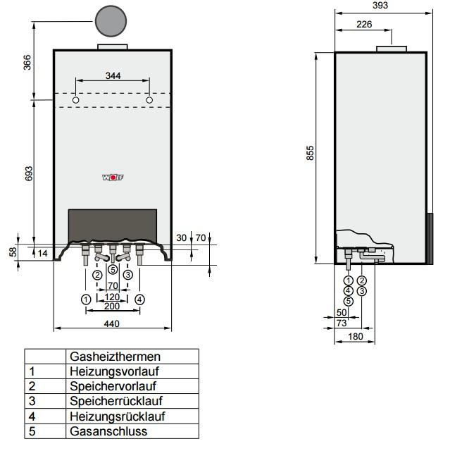 wolf gastherme gas therme heizung gasheizungsanlage cgu 2 10. Black Bedroom Furniture Sets. Home Design Ideas