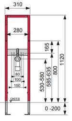 Bati support TECEbase pour lavabo inclu la fixtion mural de montage hauter de 1120 mm de largeur 310 mm  – Bild 3