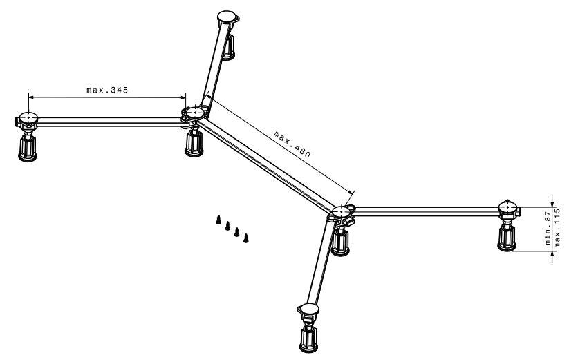 Poresta Ferroplast® D6 Mini Duschwannenfuß Füße 75-100 cm Wannenfuß Dusche