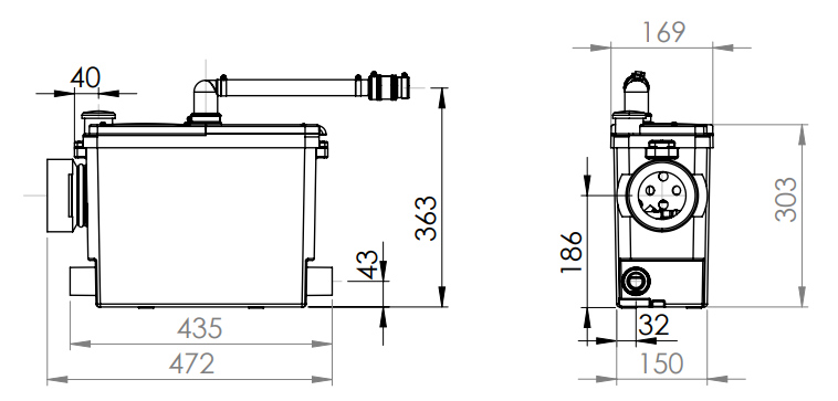 SFA Sanibroy SANIPACK Haushaltspumpe - technische Zeichnung