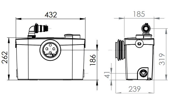 SFA Hebeanlage Sanipro XR UP - technische Zeichnung