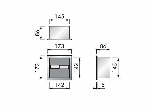 Unterputz WC Papierhalter Easy Drain Container Roll Square 173 x 173 x 86 mm