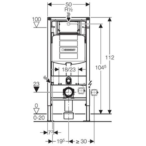 Geberit Wand-WC-Montageelement Duofix BH 1120 mm Unterputz-Spülkasten UP320  # 111300005