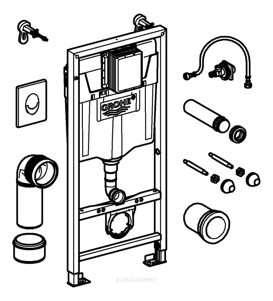 Wc Suspendu 4 Pieds grohe rapid sl ensemble de wc suspendu 113 cm supports muraux et plaque de  chasse